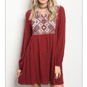 NWT Wine Tribal Pattern Skater Shift Dress